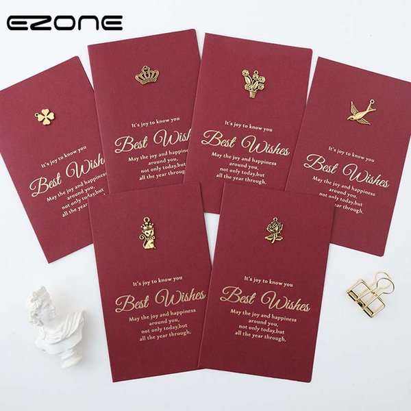 EZONE Envelope+Greeting Card Sets High-end Kraft Card Birthday Wedding Message With Delicate Metal Pattern Decoration