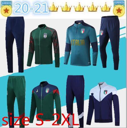Nuevo 19 20 Copa de Europa de fútbol de Italia chaqueta de chándal ajustado 2020 21 ITALIA BELOTTI Verratti Chiellini INSIGNE Fútbol conjuntos de ropa deportiva chaqueta