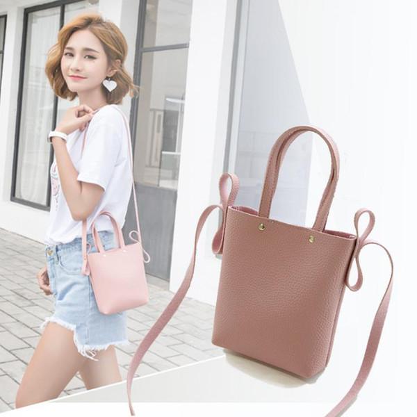 Cheap INHO CHANCY Fashion Litchi Grain PU Leather Small Women Bucket Handbag Female Mobile Shoulder Messenger Bag Bolsa Feminina Sac