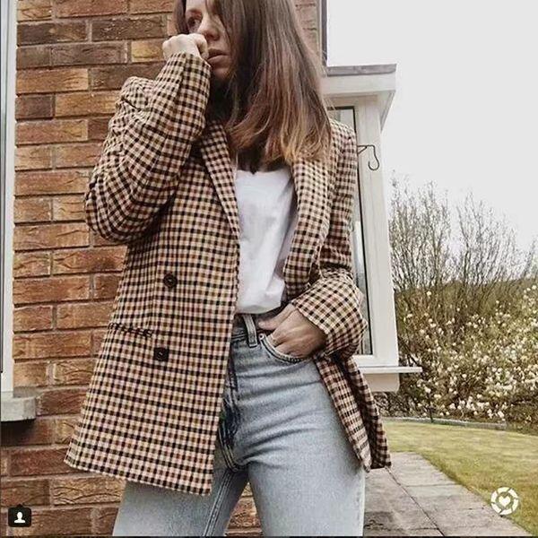 Moda Plaid Blazer Mulheres Long Sleeve Magro OL Blazer Feminino Abotoamento Outono Primavera Jacket Feminino