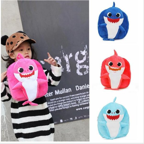 Baby Shark Plush Backpack Soft Toys School Bag Animal Toy Backpack Mini Cartoon Preschool Bag for Children Girls Boys 10pcs CNY1105