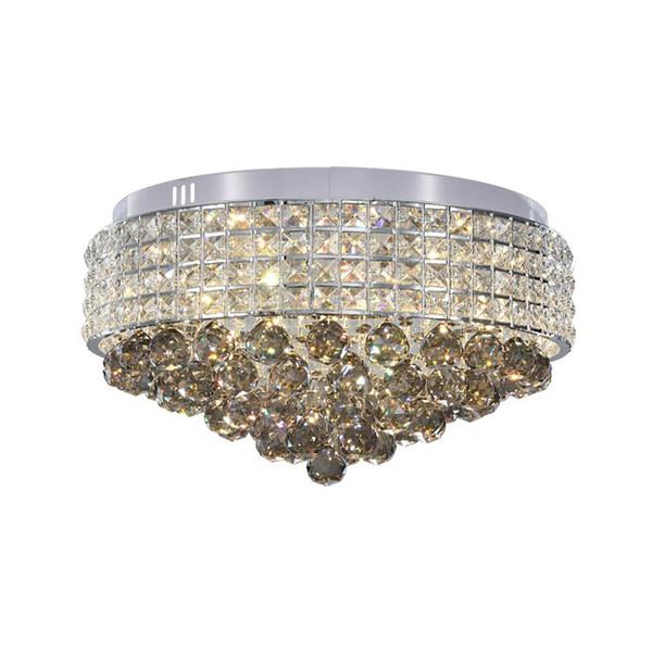 Dimmable crystal ceiling round chandelier modern crystal led lighting chandeliers living room bedroom flush mount ceiling light fixtures