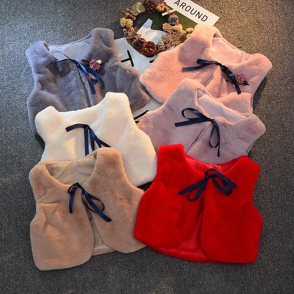 PPXX 2019 Fashion Winter Vest Fur Baby Waistcoat Kids Jackets for Girls Children Clothes Fur Jacket Sleeveless Vest Toddler