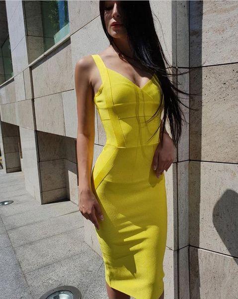 Amarelo na altura do joelho longo sling Mulheres Vestido Bandagem Nova Chegada 2019 Celebridade Verão Vestido de Festa Vestidos Sexy Rayon + terno