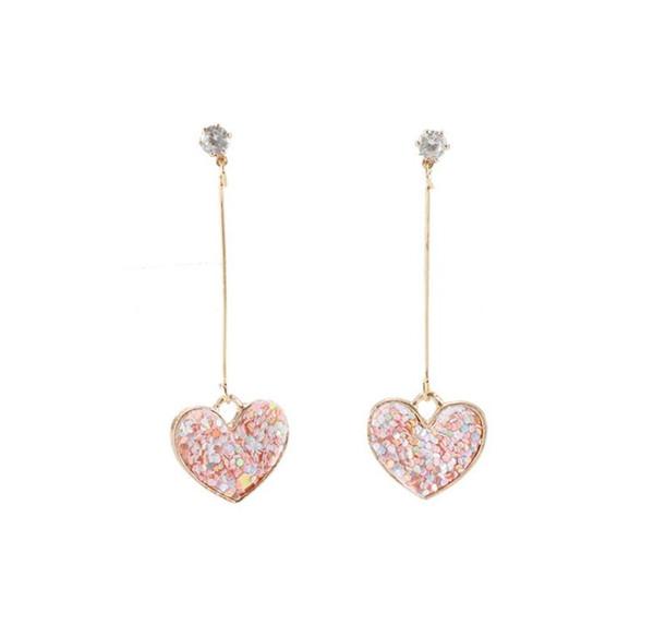 Nouveau Rose paillettes Love Heart Boucle D'oreille Déclaration Longue Balancent Boucle D'oreille Pour Les Femmes Cadeaux Bijoux