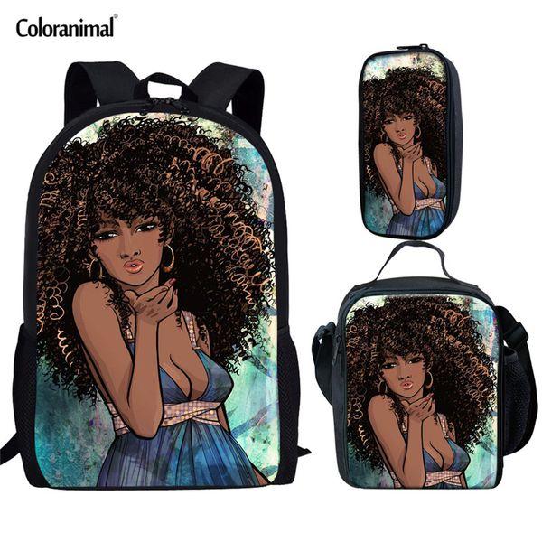 Coloranimal Teenager Girl 3pcs Set School Backpack American Women School Bag Children Kids Black Girl Magic Melanin Bookbag KId