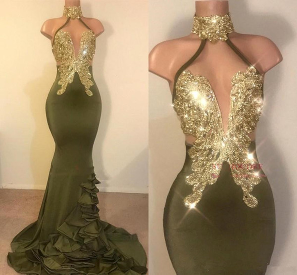 Sexy Mermaid Olive Green Prom Dresses Halter Neck Gold Appliques Backless Stretchy Satin Long Evening Gowns Vestidos Custom Made Party Dress