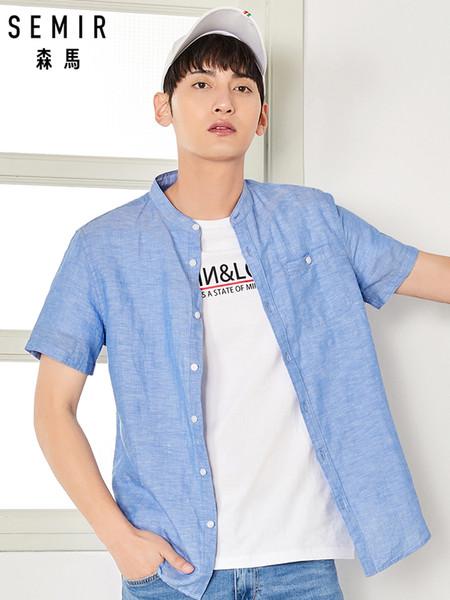 semir men soft cotton linen collarless shirt men short sleeve shirt in regualr fit men's casual shirts male summer clothes