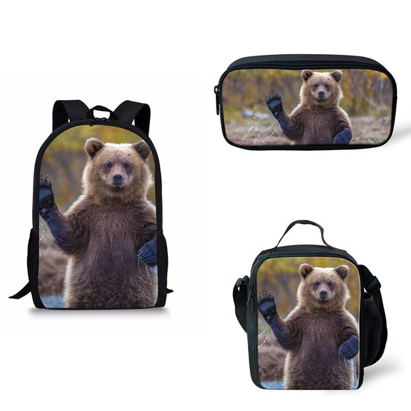Customized Image 3Pcs Set Grizzly Bear Print School Bag Kids Boy School Backpack insulated bag pencil set Children Book