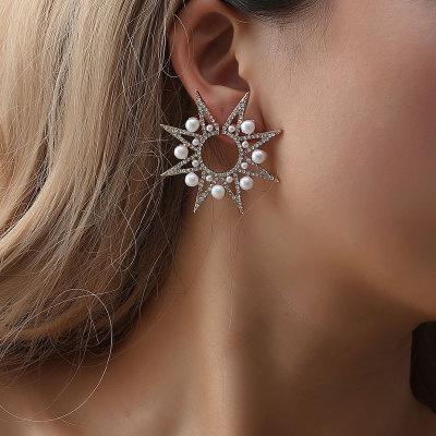 best selling European and American fashion geometric hyperbole earrings pearl set diamond luxury star mount sunflower ear stud single style