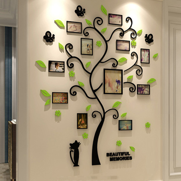 Acrylic 3d Family Photo Frame Tree Stickers Removable Diy Art Wall Poster Decals For Living Room Bedroom Home Decoration Q190522
