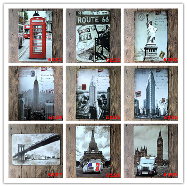 Telephone Booth Route 66 The Statue of Liberty Tower Bridge Metal Tin Signs Bar Home Gas Station Pub Bakery Cafe Hotel Decor Wall Art Poster