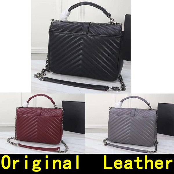 Saint Original Leather Silver chain Silver pendant Genuine Leather high quality Luxury Designer Handbags Women Shoulder Bags 1607