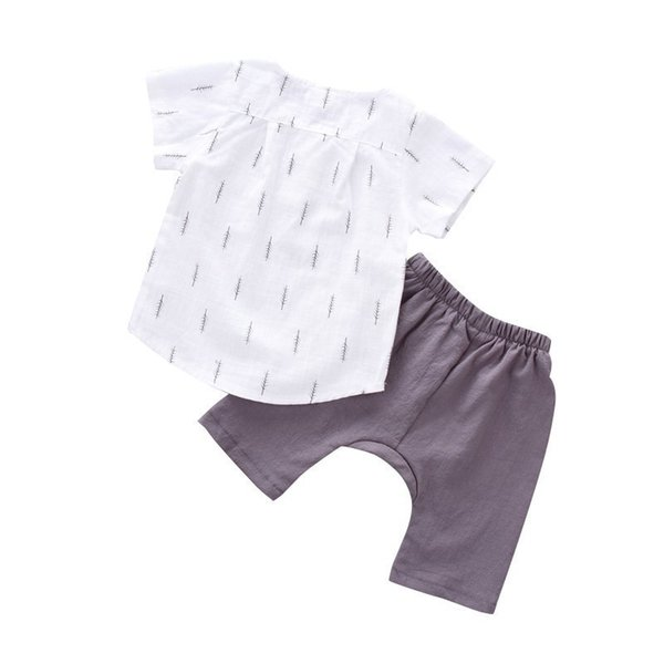 2019 New Hot Summer Tracksuit For Boys Girls Kids Top Suits Linen T Shirt + Pants 2 PCS Boutique Short Baby 0-5Y Clothes SetS