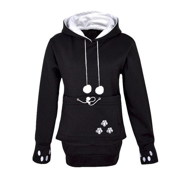 Kangaroo Dog Hoodie Women Kawaii Lover Cats Embroidery Cartoon Hooded Hoodies Thumb Through Front Pocket Animal Ear Hoodie