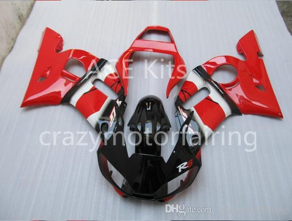 3 Free gifts Injection MOLD New ABS Fairing Kits 100% Fitment For YAMAHA YZF-R6 98-02 YZF600 1998 1999 2000 2001 2002 Black Red v4