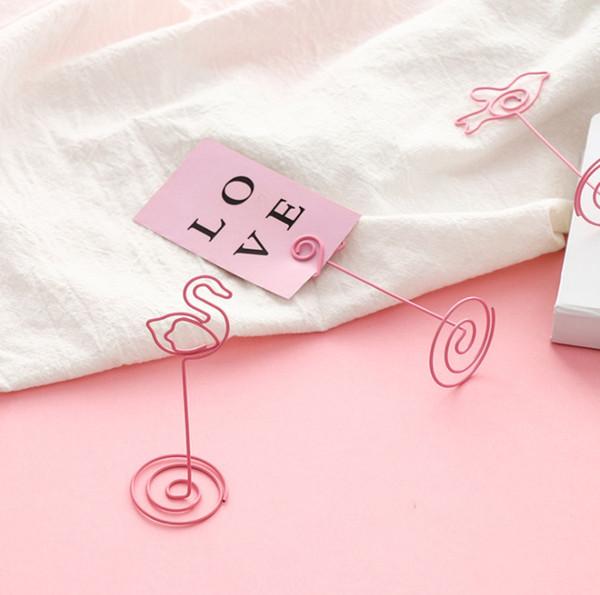 2019 Pink Girl Симпатичные в форме сердца клип папка для фотографий простой офисный рабочий стол единорог фламинго сообщение примечание клип свадебный декор