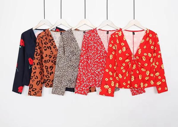 5 Style Women Sexy Tops Print Spring Shirts Long Sleeve Streetwear Vintage Club Shirt Korean Lady Blouse V-neck Chiffon T-Shirt