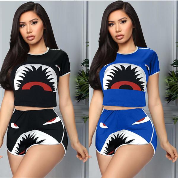Women Designer Tracksuits Fashion Casual Shark Print Short Sleeve T shirt Crop Top + Shorts 2 Piece Set Outfits Sport Set S-XXL C72506