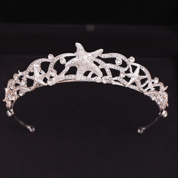 Sliver Full of Starfish Tiaras and Crowns Rhinestone Bridal Diadem Hair Jewelry Headpiece Wedding Hair Accessories