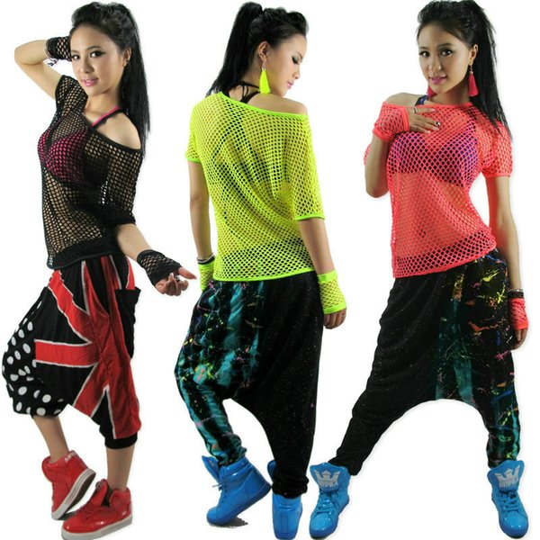Kids Adult Hollow Out Hip Hop Top Dance See-through Jazz Costume Performance Wear Stage Clothing Neon Mesh Sexy Cutout T-shirt C19041901