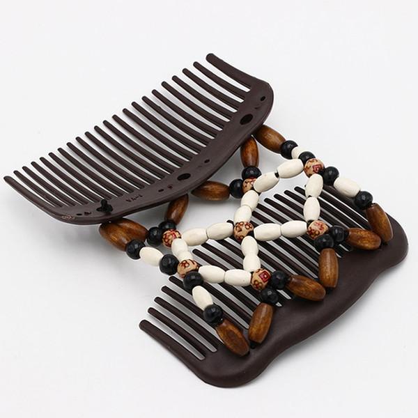 Vintage Haarschmuck Magic Butterfly Holz Haarspange Perlen Stretch Double Slide Kamm Für Frauen Mode Headwear