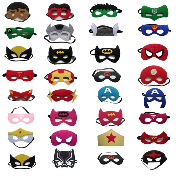 top popular 31 styles Superhero Mask Party Masks justice league Costumes Mask for kids Felt Halloween Christmas costumes kids 2019