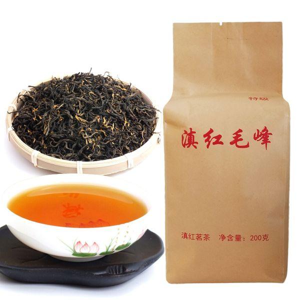 best selling Dian hong maofeng tea 200g large congou black tea Chinese mao feng dian hong famous yunnan black tea 200g Hot sales