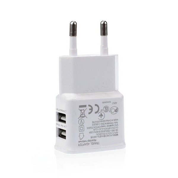 New White Universal 2A EU Plug 2 Dual Port USB Wall Charger Adapter For Samsung Galaxy S4 S3 Note 2 3 iPhone 4 5 500pcs/lot