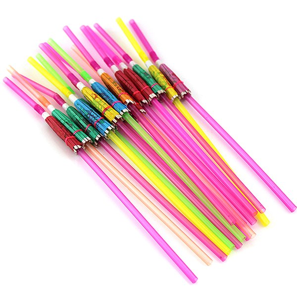 50PCS Bar Club Drinking Supplies Colorful Tropical Party Decoration Disposable Straw Cocktail 3D Wedding Fluorescent DIY