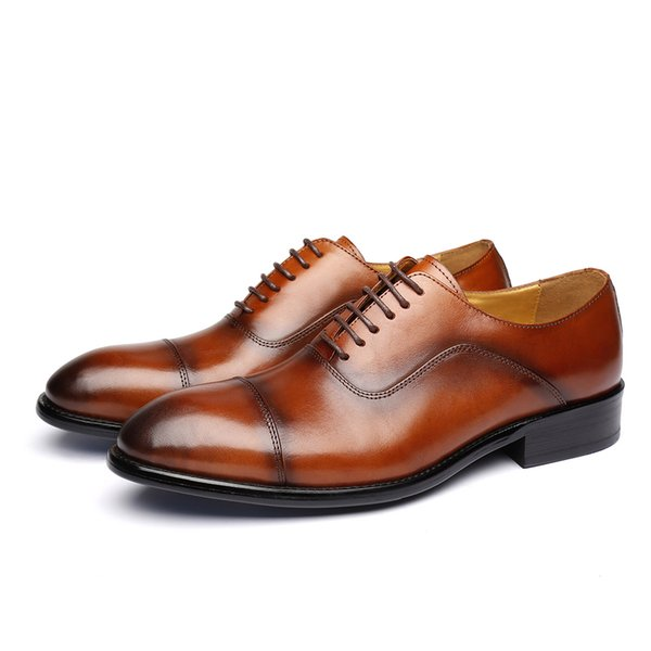 Men's Formal Genuine Leather Wingtip Oxford Dress Shoes Quality Low Heels Lace-up Comfortable & Breathable Men's Shoes