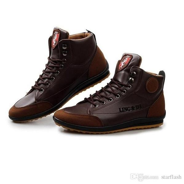 Hommes Bottes En Cuir De Mode Automne Hiver Coton Chaud Bottines À Lacets Up Chaussures Hommes Baskets Taille: 39-44 Q-468