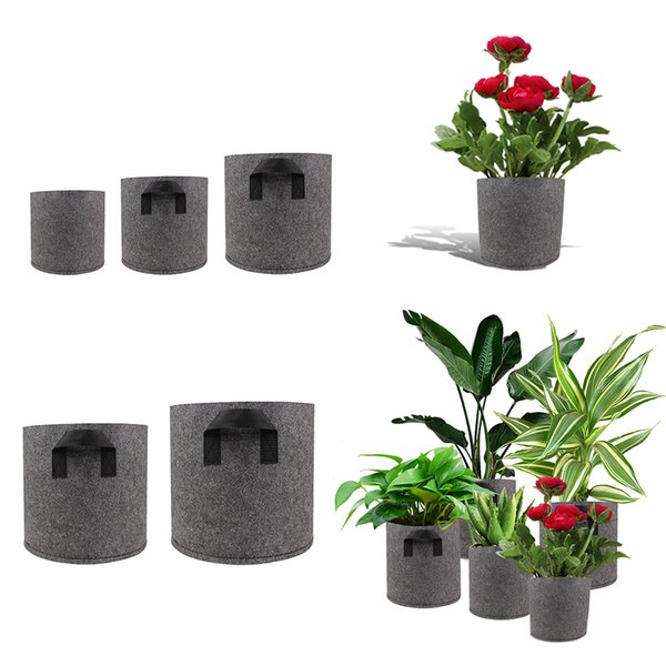 1/2/3/5/7/10 Gallon Plant Grow Bags Non-Woven Aeration Fabric Pots Pouch Root Container Breathable Degradable Self-Absorbent Pots