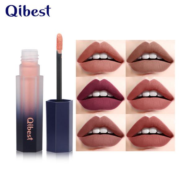 Qibest Waterproof Nude Matte Velvet Glossy Lip Gloss Lipstick Lip Balm Sexy Red Lip Tint 12 Colors Women Fashion Makeup Gift