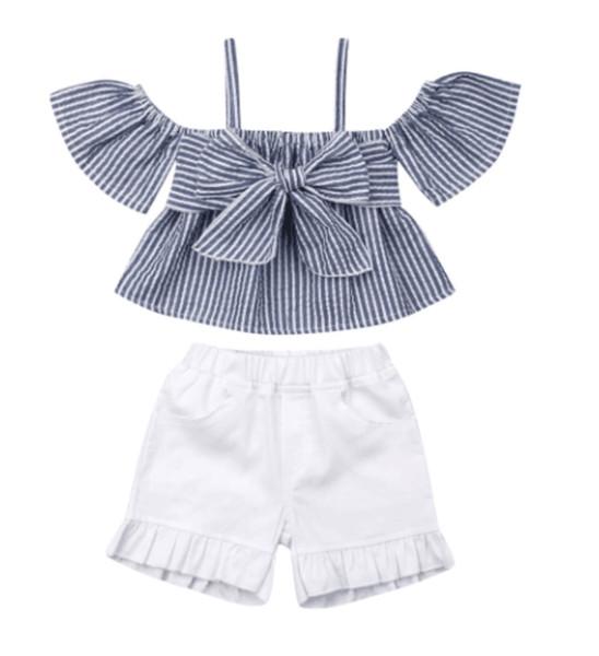 Venta al por menor ropa para niños ropa niñas 2019 3pcs pantalones cortos conjunto de algodón raya arco camisa + volante bebé corto chándal chándal ropa de diseñador de ropa