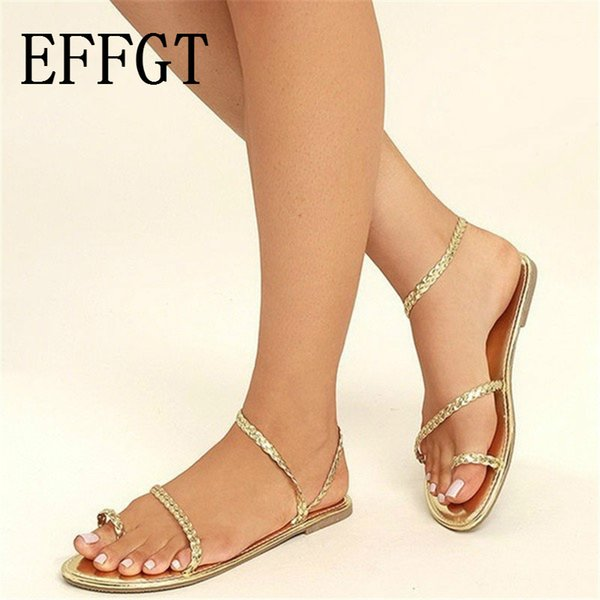 EFFGT 2019 Summer Fashion Thong Sandals Women Flip Flops Weaving Casual Beach Flat With Shoes Rome Style Low Heels Sandals