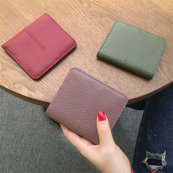 Genuine Leather Short Women Wallet 2019 Fashion Coin Purse Women Short Wallet Multifunction Solid 2 Fold Type Card Holder Purse