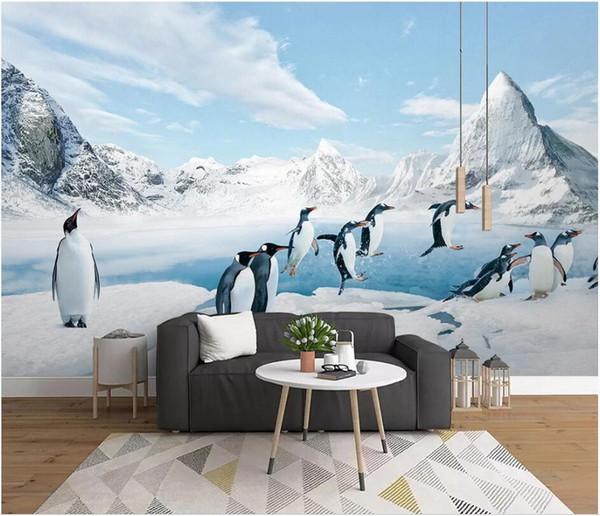 WDBH 3d wallpaper custom photo Antarktischer Pinguin Eis und Schneetiere malen Wohnkultur Wohnzimmer 3d wall murals wallpaper for walls 3 d