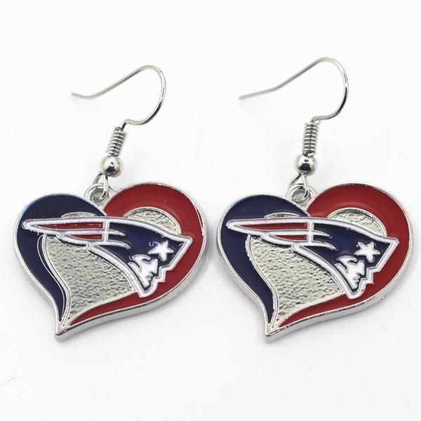 Whole ale 6 pair lot heart football earring team port long ear hook drop earring jewelry for women, Silver