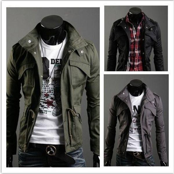 2019 New Slim Sexy Top Designed Mens Jacket Coat Turn Down Collar Jaqueta Black Army Green Gray England Style Nz24 Dropshipping