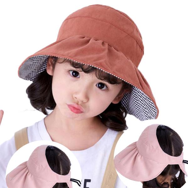 Chapeau d'été pour enfants Chapeau de soleil réversible visières de protection solaire extérieur Enfants Cap solides Garçons Filles Plié Bord de plage Cap coton