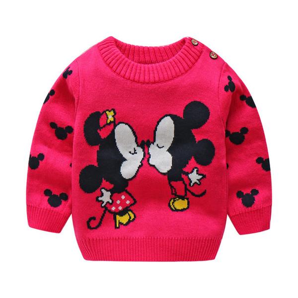 Qualidade 2019 elegante Inverno Bebê Camisolas Para O Miúdo Dos Meninos meninas Inverno Bonito Dos Desenhos Animados Camisola de algodão Crianças Quente Camisola de espessura