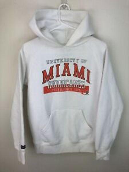 Jansport University of Miami Hurricanes Canes White Sweater Small Hoodie Unisex