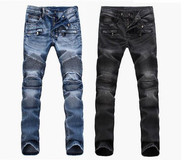 Мужская мода внешней торговли светло-голубая черная дыра джинсы езда на мотоцикле мужская стирка старые складки мужские брюки