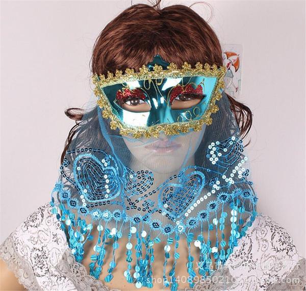 Sexy Sequins Veil Mask Women Girls Venice Princess Masks Masquerade Props Ball Party Decor Halloween Birthday A2231c