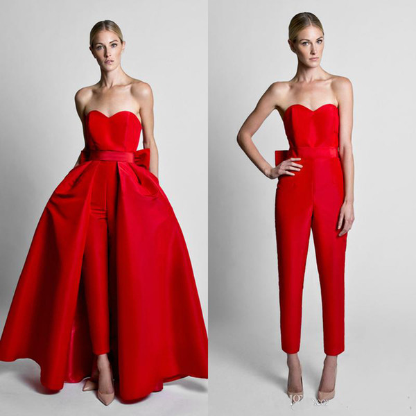 2019 Fashion Jumpsuit Evening Dresses With Convertible Skirt Satin Bow Back Sweetheart Strapless Waistband Weddings Guest Prom Gown