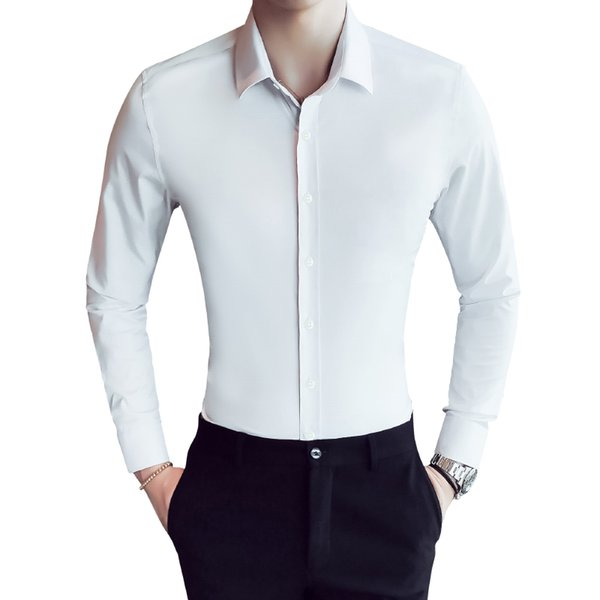 Spring New 2018 Pure Color Men Dress Shirt Long Sleeve Classic Slim Fit Fashion Work Formal Wear Brand Business Men Casual Shirt