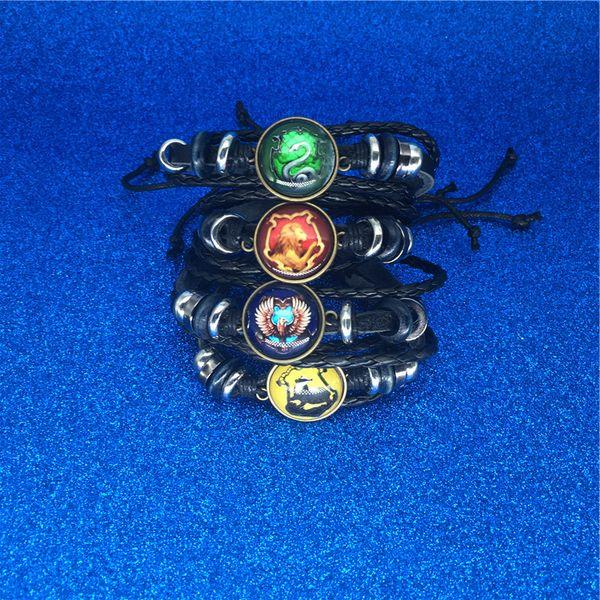 Book Hogwarts Gryffindor Slytherin Hufflepuff Ravenclaw Badge Bracelets Multilayer Wrap Bracelet Glass Cabochon Jewelry