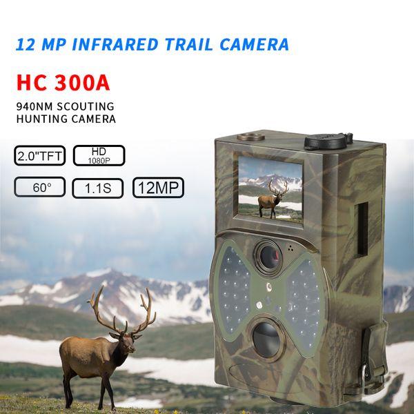 vendita all'ingrosso HC-300A caccia fotocamera digitale trail fotocamera 12MP 1080p foto trappole selvaggia sorveglianza IP54 impermeabile 32GB camma di esplorazione