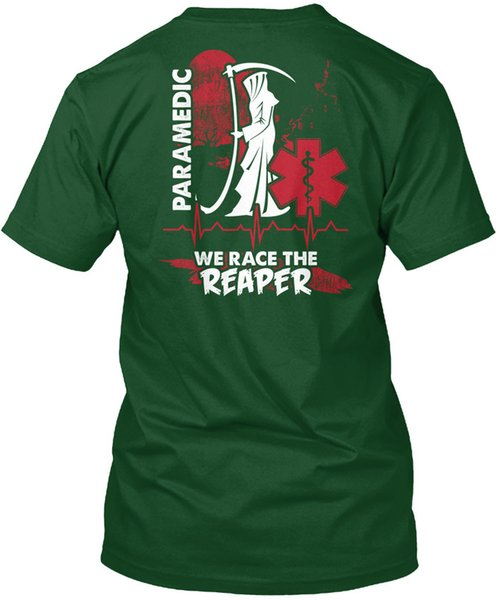 mens designer t shirts shirt Paramedic- - Paramedic We Race The Reaper Popular Tagless Tee T-Shirt